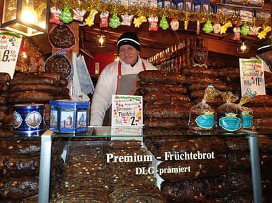 Happy bread seller.