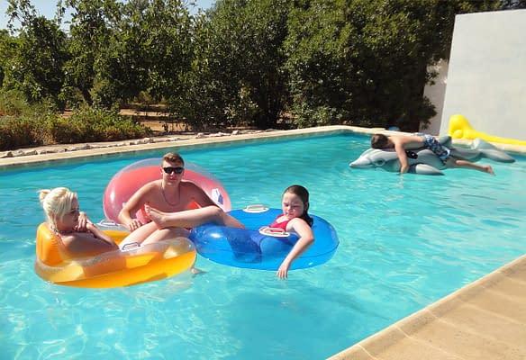 Grandchildren in our Acerico swimming pool.