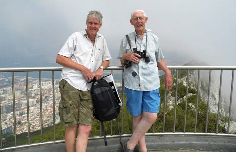 On top of the rock of Gibraltar, the Levante rising like smoke behind.